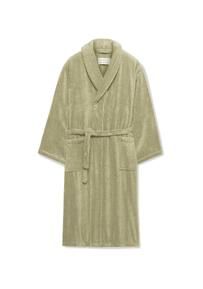 Cleverly Laundry - Pinstriped Cotton-Terry Robe - Men - Green - 1