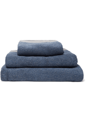 Cleverly Laundry - Set of Three Pinstriped Cotton-Terry Bath Towels - Men - Blue