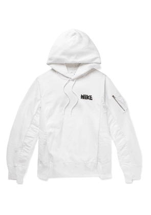 NIKE - Sacai NRG Panelled Logo-Print Cotton-Blend Jersey and Shell Hoodie - Men - White - S