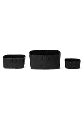 Métier - Set of Three Reversible Collapsible Full-Grain Leather Boxes - Men - Black