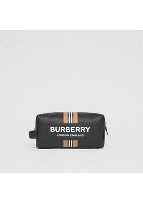 Burberry Logo and Icon Stripe Print Leather Travel Pouch, Black