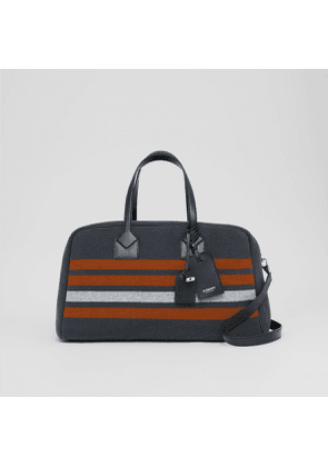 Burberry Striped Wool and Leather Cube Holdall, Grey