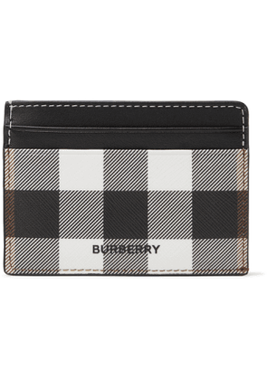 BURBERRY - Logo-Appliquéd Checked E-Canvas and Leather Cardholder - Men - Brown