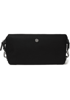 MISMO - Leather-Trimmed Canvas Wash Bag - Men - Black