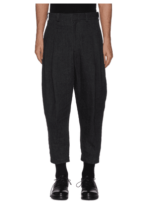 Front Pleat Taper Leg Linen Pants