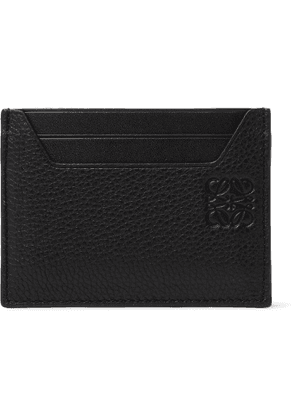 LOEWE - Logo-Debossed Smooth and Full-Grain Leather Cardholder - Men - Black
