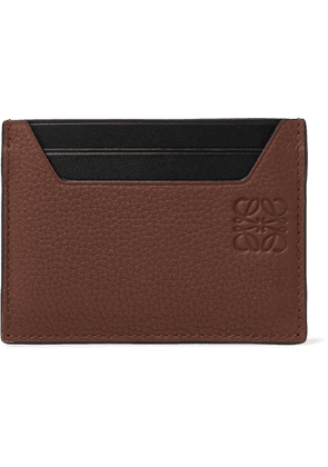 LOEWE - Logo-Debossed Smooth and Full-Grain Leather Cardholder - Men - Brown