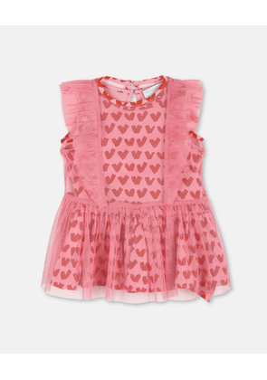 Stella McCartney Kids Pink Hearts Tulle Dress, Unisex, Size 1-3