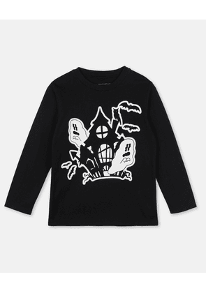 Stella McCartney Kids Black Halloween Cotton T-Shirt, Unisex, Size 4