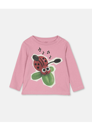 Stella McCartney Kids Pink Ladybird Cotton Rib T-Shirt, Unisex, Size 3-6