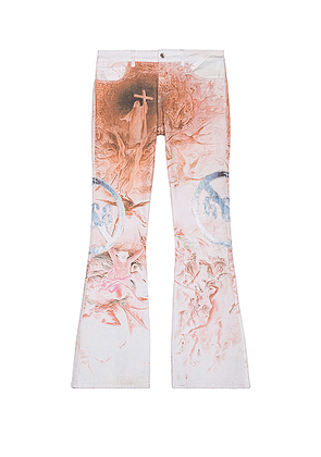 Who Decides War by Ev Bravado Infrared Motif Denim Pant in Red & Cloud & Ash - White,Orange,Pink,Abstract. Size 28 (also in 32, 36).