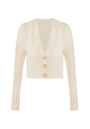 Anna October Dubilet Cable-Knit Wool-Blend Cropped Cardigan