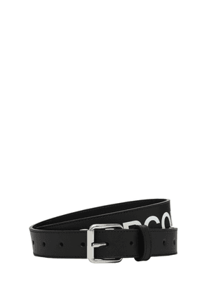 Logo Print Leather Belt