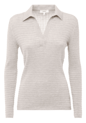 Cashmere & Silk Knit Polo Sweater