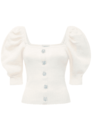 Cotton Knit Top W/ Puff Sleeves
