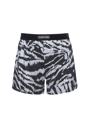 Zebra Print Stretch Silk Boxer Briefs
