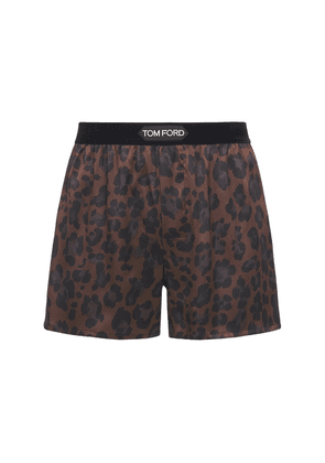 Leopard Print Stretch Silk Boxer Briefs