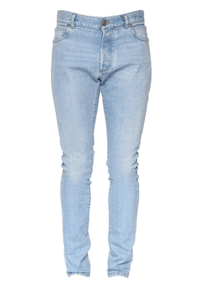 B Embroidered Cotton Denim Slim Jeans