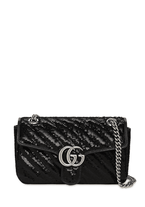 Sm Gg Marmont 2.0 Sequins Shoulder Bag