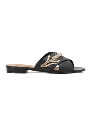 Marti crisscross mules with brooch