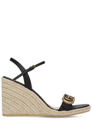 85mm Leather Platform Espadrilles