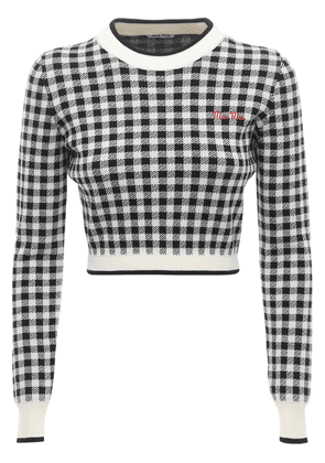 Gingham Wool Knit Crop Sweater