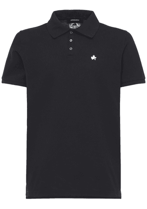 Maple Leaf Print Cotton Pique Polo