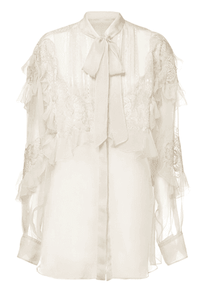 Silk Chiffon Shirt W/ Front Self-tie