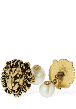 Lion Head Motif Cufflinks W/ Faux Pearl
