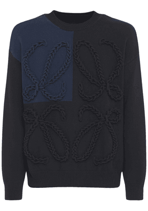 Embroidered Cotton Blend Knit Sweater