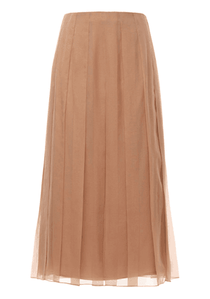 Silk Chiffon Plissé Mid-length Skirt