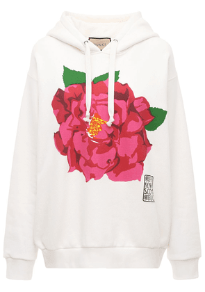 Flower Printed Cotton Jersey Hoodie