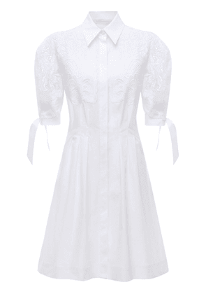 Stretch Poplin Shirt Dress W/ Macramé