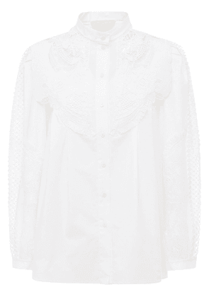 Stretch Cotton Poplin Shirt W/ Macramé
