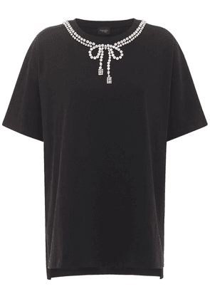 Crystal Bow Embroidery Cotton T-shirt