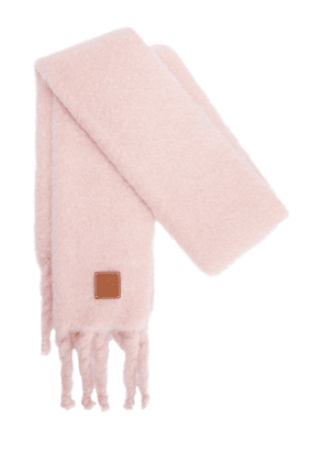 Knit Mohair Blend Fringed Scarf