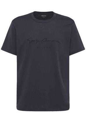Logo Signature Embroidery Cotton T-shirt