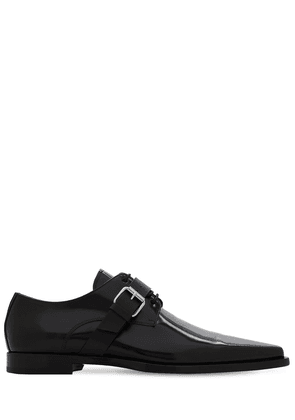 Leather Lace-up Buckle Loafers