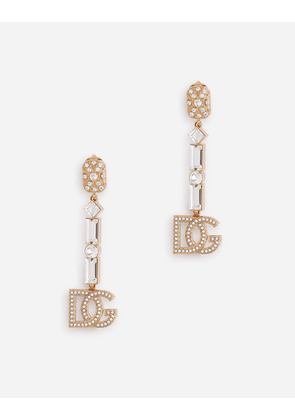 Dolce & Gabbana Bijoux - CLIP-ON DROP EARRINGS WITH RHINESTONE ACCENTS AND THE DG LOGO GOLD female OneSize