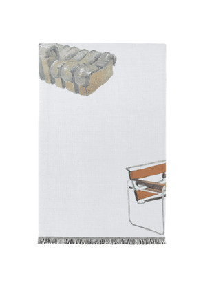Curves by Sean Brown Off-White Chairs Throw Blanket