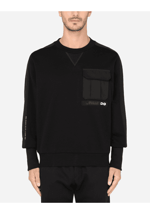 Dolce & Gabbana For him - ROUND-NECK SWEATSHIRT WITH PATCH POCKET AND PATCH EMBELLISHMENT BLACK male XS