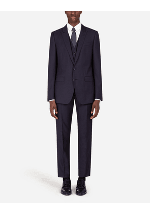 Dolce & Gabbana Suits - MICRO-PATTERNED WOOL AND SILK MARTINI-FIT SUIT BLUE male 48