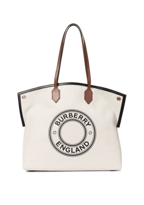 Society leather-trimmed canvas tote