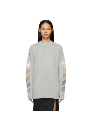Off-White Grey Wool and Mohair Diag Sweater