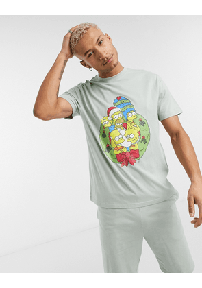 ASOS DESIGN christmas lounge washed t-shirt and short pyjama set with The Simpsons print-Green