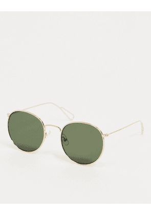 Weekday Explore Rounded Sunglasses in Gold with Green Lenses
