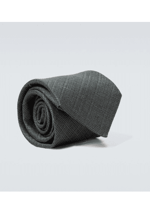 Linen and silk jacquard tie