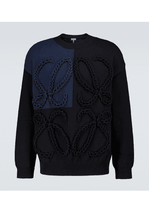 Anagram embroidered cotton sweater