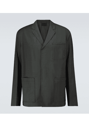 Single-breasted wool poplin jacket
