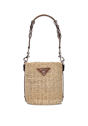 Raffia and leather bucket bag